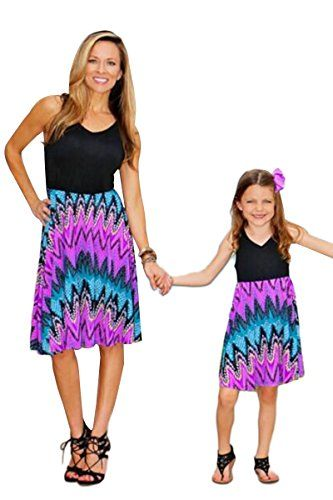 9a8ab41cf93 YMING Family Matching Mother and Daughter Sleeveless Casual Short Dress (Black