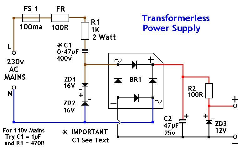 Transformerless Power Supply 12v Power Supply Circuit Power Supply Design Electronic Circuit Projects