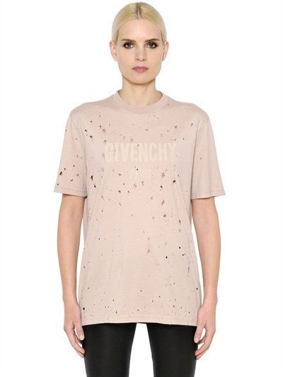 GIVENCHY - LOGO PRINTED DESTROYED COTTON T-SHIRT - LIGHT PINK | Le Fashion  | Pinterest | Givenchy, Cotton and Printing