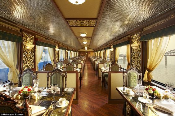 Designed to recreate the elegance and pageantry of the personal carriages of the Maharajas, the interiors of this luxury train have a nostalgic aesthetic: