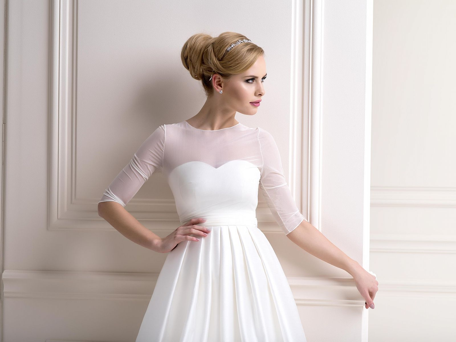Stretch Tulle Bardot Bolero Elbow Length Wedding Dress Topper