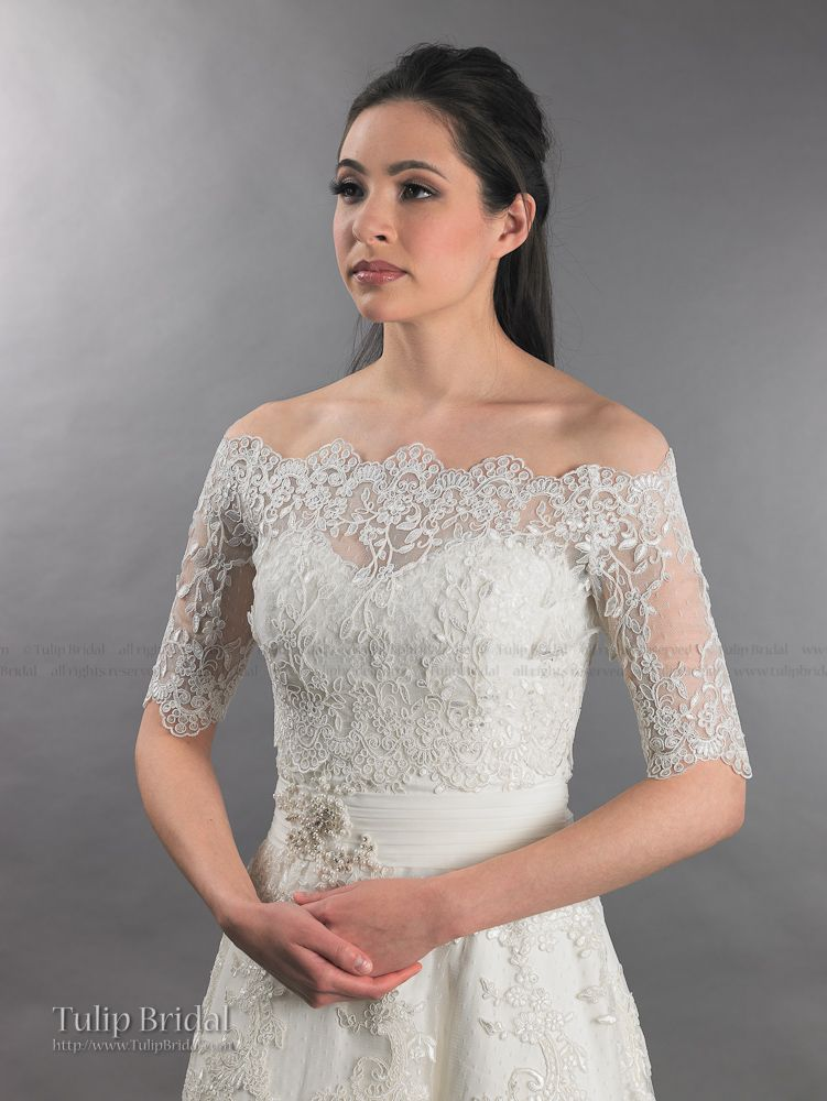 Off shoulder bridal bolero wedding jacket dot lace wj010 for Wedding dress lace bolero