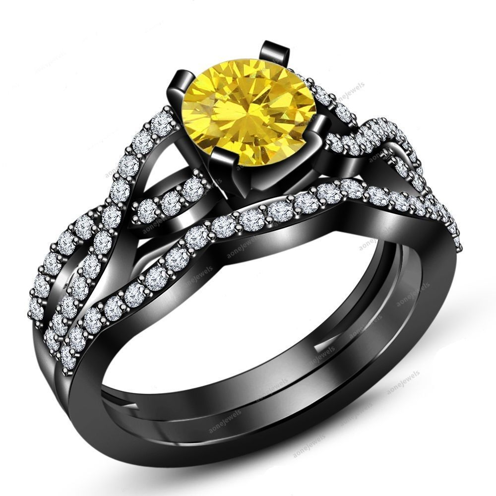 Wedding Bridal Set Jewelry Ring Sz 512 Yellow Sapphire W