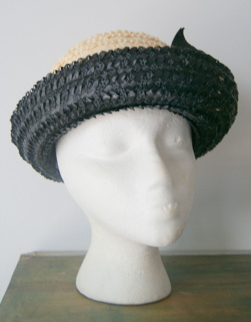 07f20d3f Vintage Cream and Black Straw Sixties Mod Bowler Hat by hipandvintage on  Etsy