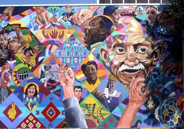 Mural using four-fold symmetry in mathematics.