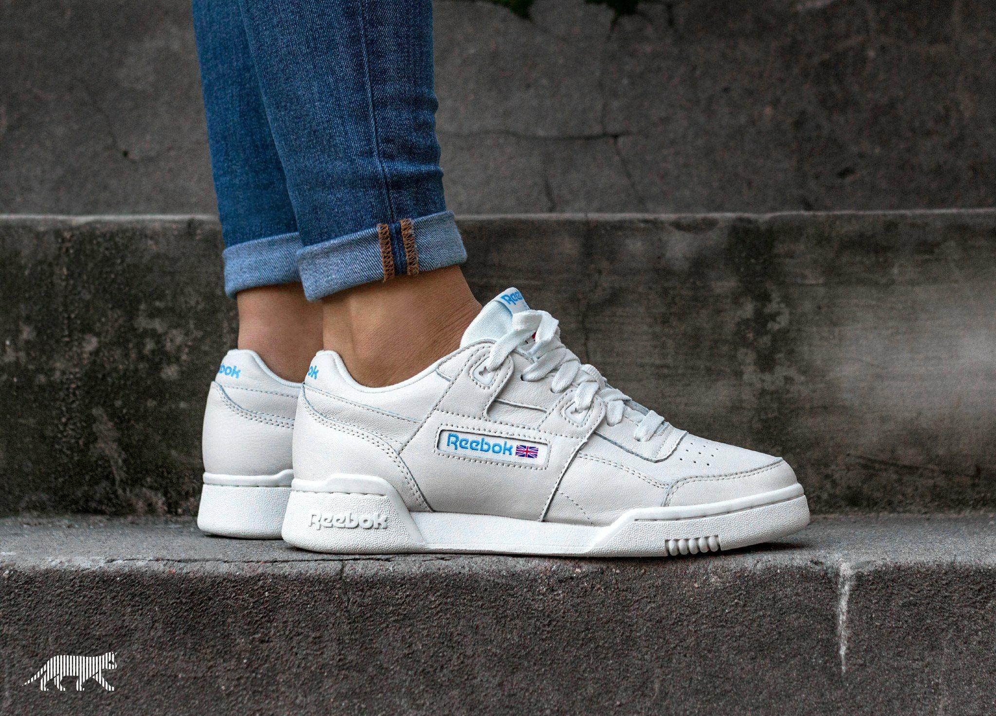 White Reebok Workout Lo Plus sneakers