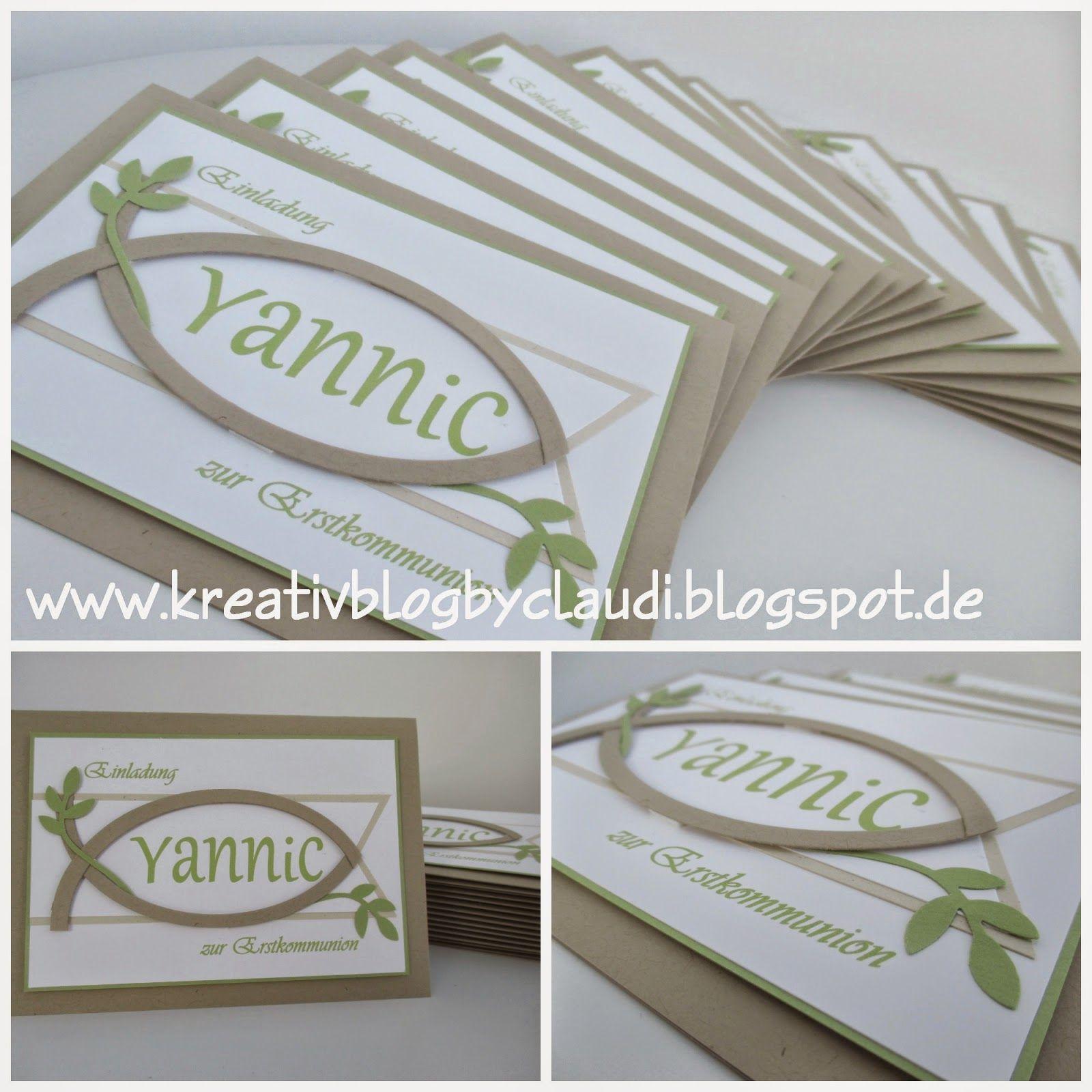 www.kreativblogbyclaudi.blogspot.de: einladung zur erstkommunion, Einladung
