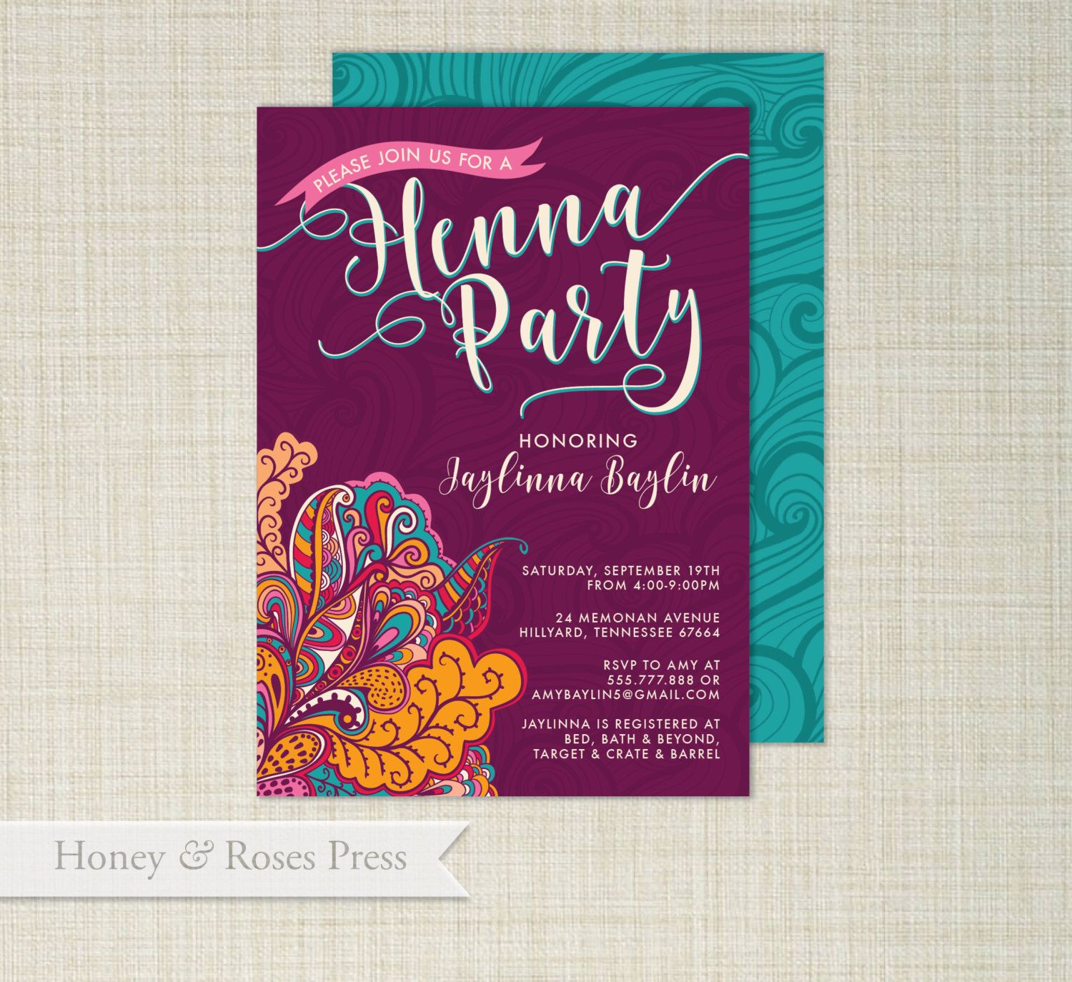 Henna Party Invite Moroccan Invite Wedding Shower Boho Wedding