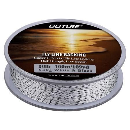 Goture 20LB Fly Line Backing 100M/109Yrd 8 Strands Dacron Braided Line Yellow&Black Double Color Backing Line for Fly Fishing