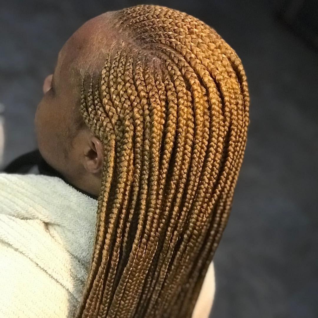 Smedium Feedin Cornrows And Individual Braids In The Back Hair