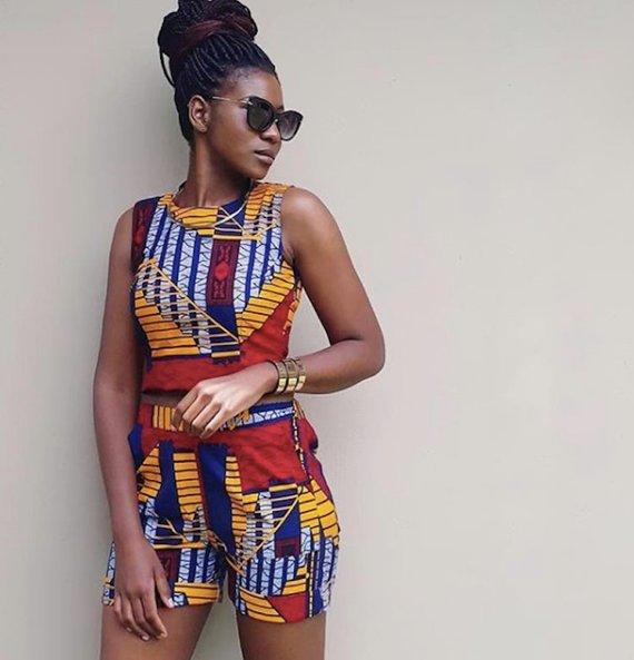 71bb91abd64fe African Print Two Piece Play suit - Ankara Print - African Dress - Short +  Crop Top - Handmade - Afr