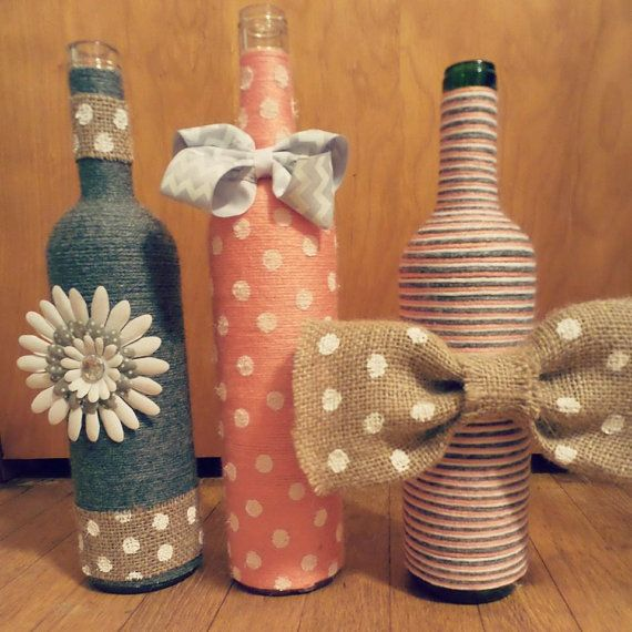 Decorative coral grey and white bottle set by BrookiesBottles
