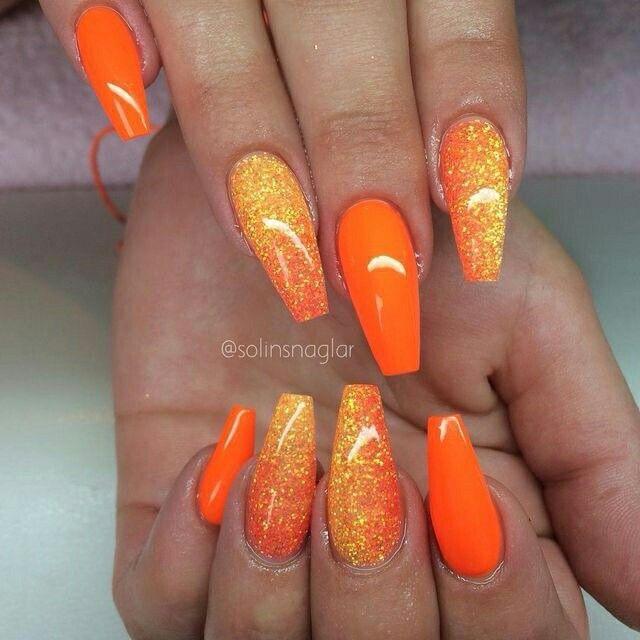 3 Benitathediva Orange Nails With Ombre Glitter Nail Design Coffin Nail Art Acrylic Nails Orange Acrylic Nails Orange Nails Nail Designs