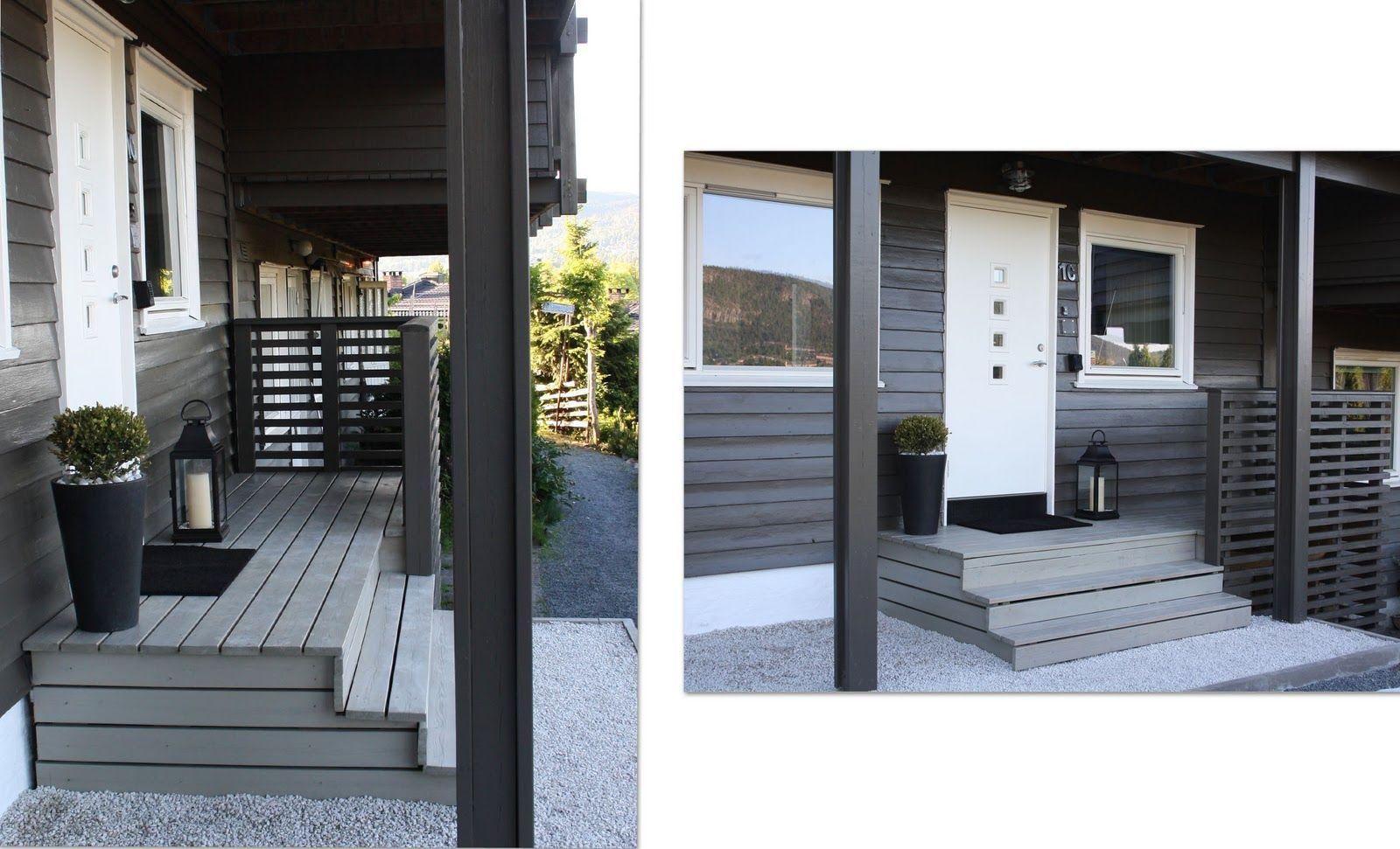 Mitt kreative gen: Før og etter inngangsparti. Terrassebeis shimmergrå