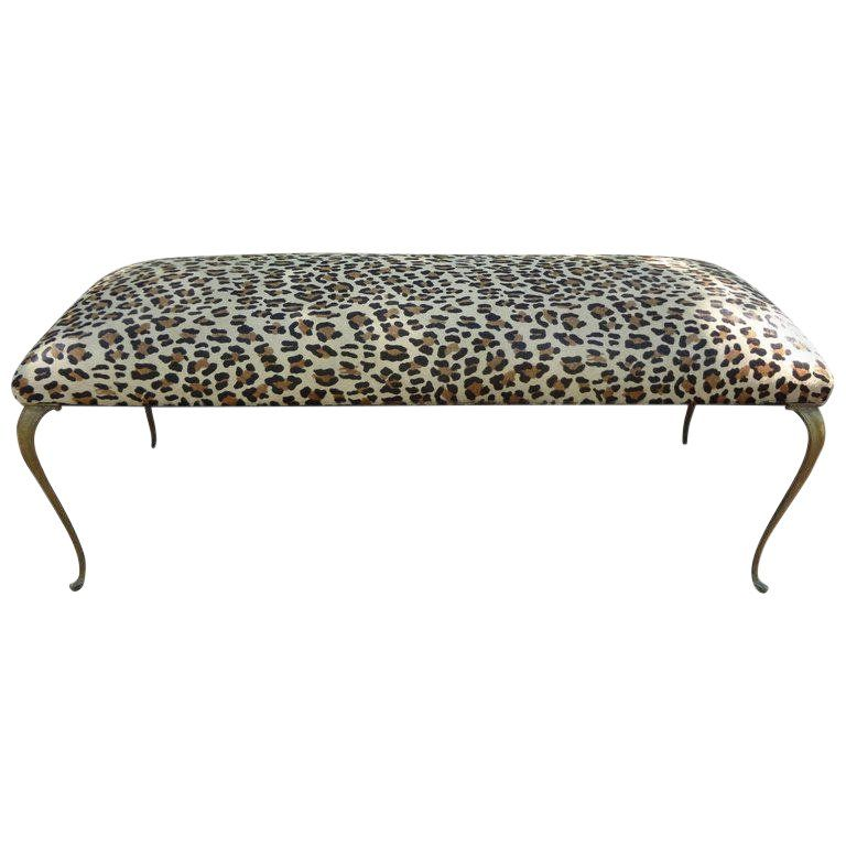1960 S Vintage Italian Gio Ponti Inspired Upholstered Leopard Print