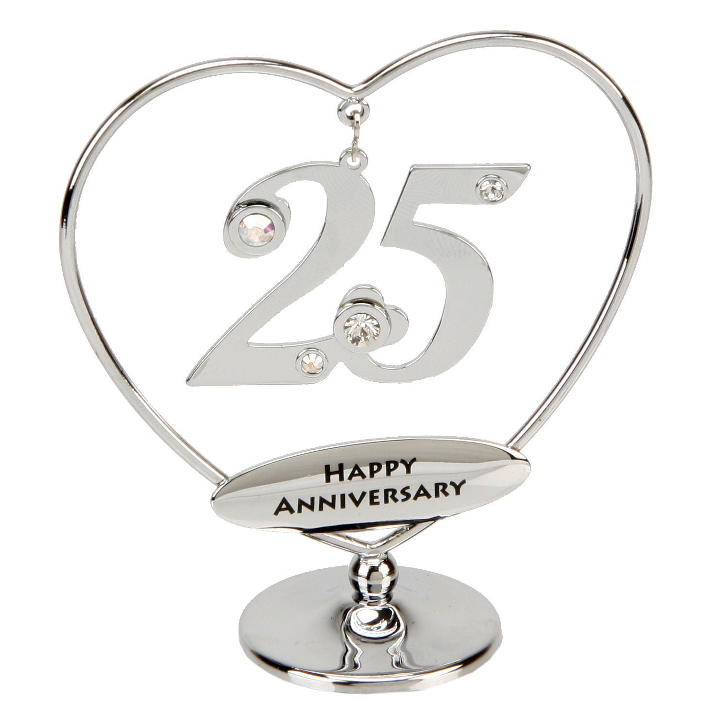 25th Anniversary Cake Topper Silver Gift Or With Swarovski Crystal