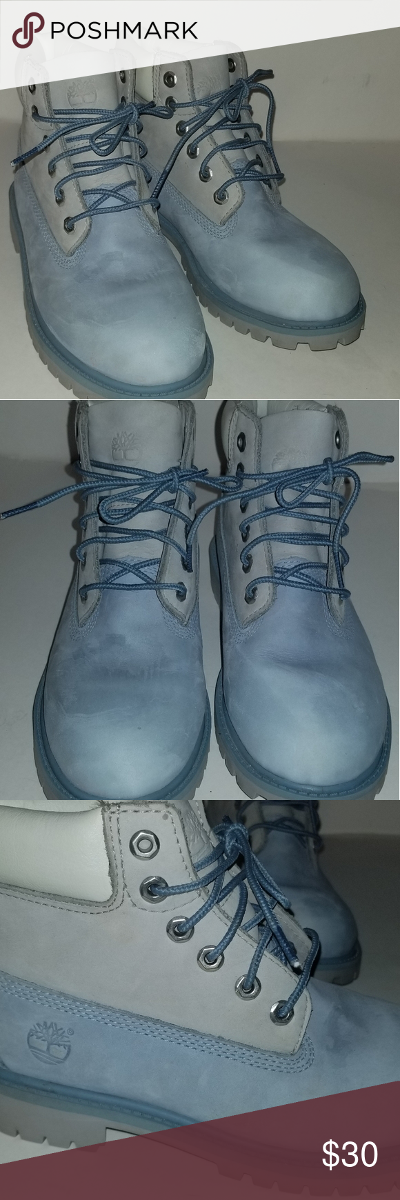 BLUE/WHITE YOUTH TIMBERLAND BOOTS