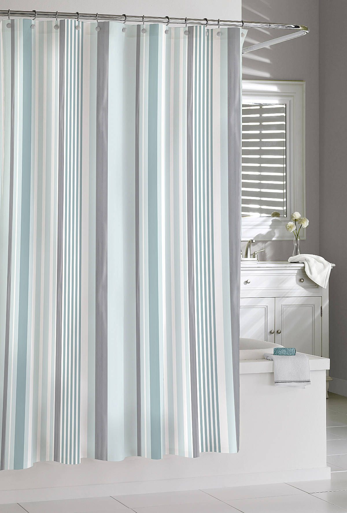 cotton charlotte stripe shower curtain bathroom accesories