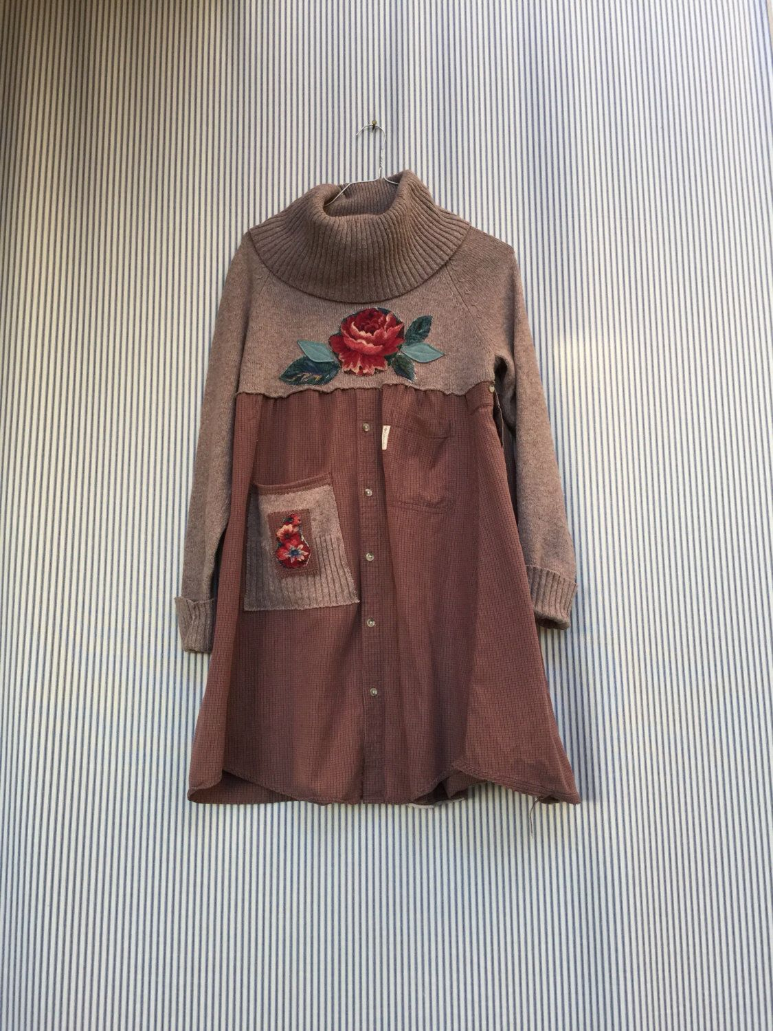 Upcycled Cowl Neck Sweater Dress , Appliqué Red Tapestry Rose ...