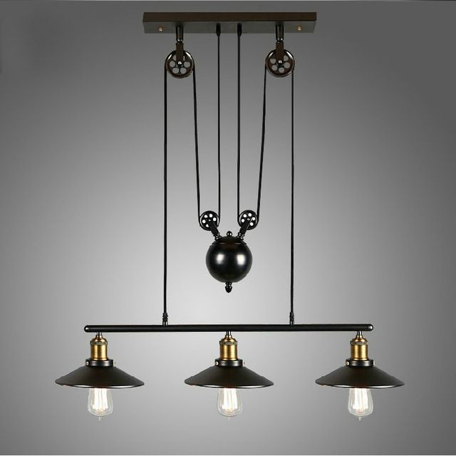 Retro Loft Vintage Industrial Pulley Pendant Lamp Home Lighting Fixture For Dinning Room Kitchen Ac 110v