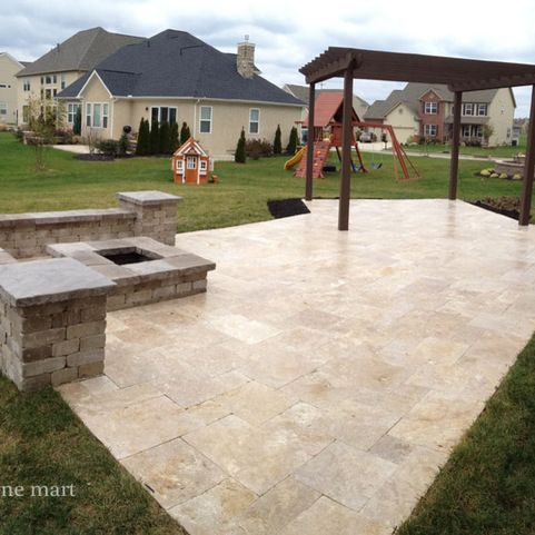 Walnut Travertine Pavers Design Ideas, Pictures, Remodel ... on Travertine Patio Ideas id=35323