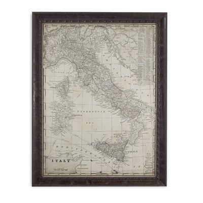 Bassett Mirror Antique Map of Italy Framed Graphic Art Interesting