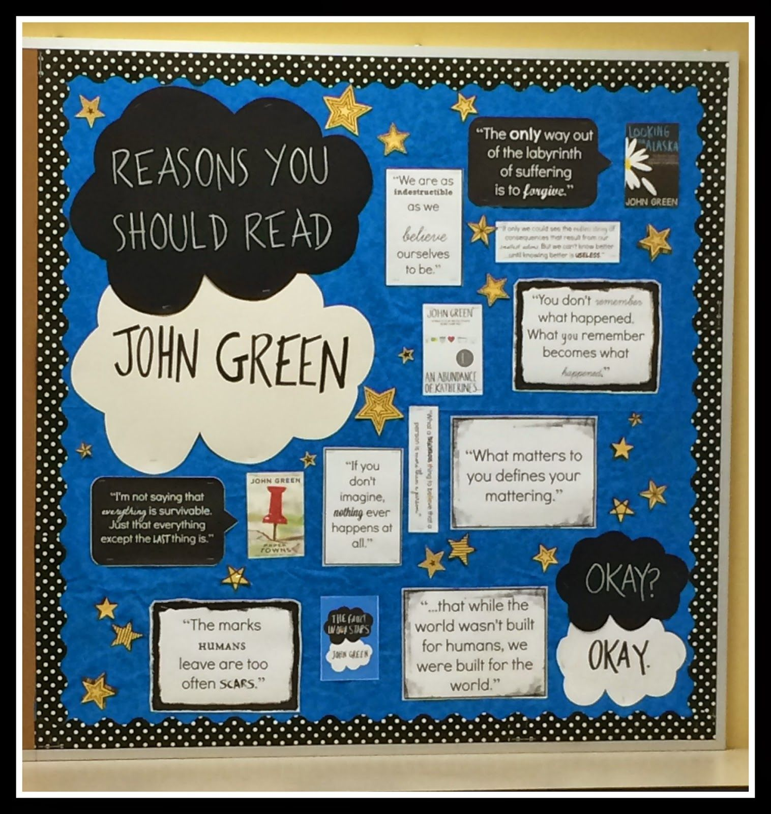 John Green, The Fault in Our Stars, inspired bulletin board. Back to ... for Creative School Project Ideas High School  59dqh