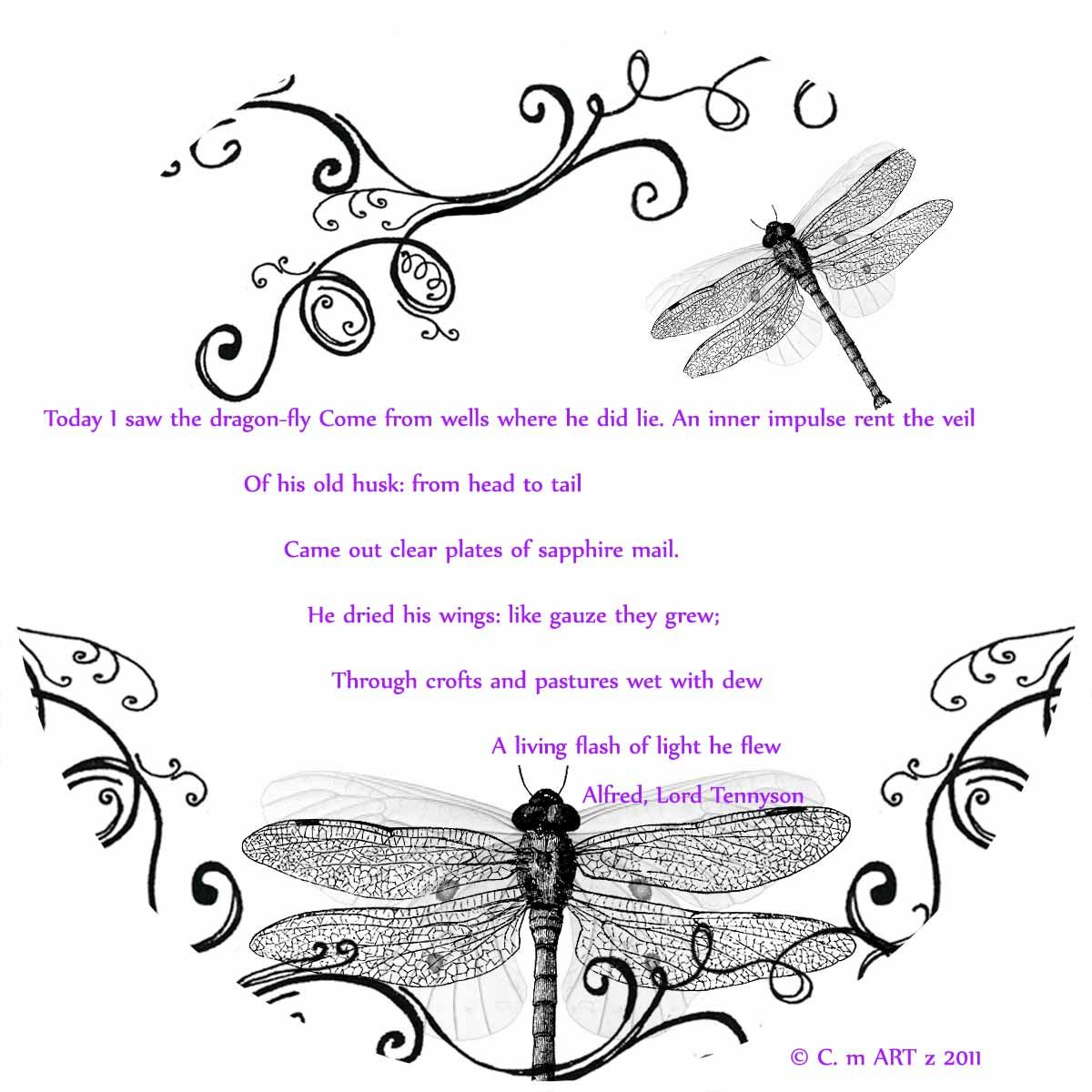 A Dragonfly design by me w/ quote by Alfred Lord Tennyson