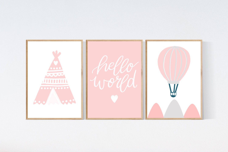 3 Adventure Prints Teepee Hot Air Balloon Nursery Wall Art Pink Room Pictures