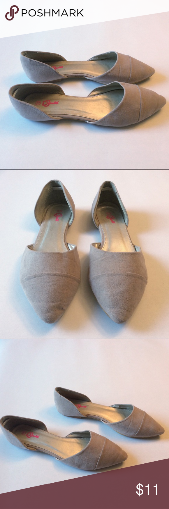 D'orsay Pointy Toe Flats Taupe/Tan suede pointy toe  Shows most of the wear on soles...but still a lot of life left in these cuties. They look darling with skinny ankle jeans, flirty dresses & breezy skirts. True to size 10, Imo. Questions welcome. Pink Key Shoes Flats & Loafers