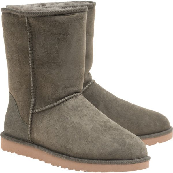 UGG Classic Short Forest // Lambskin boots ($230) ❤ liked on Polyvore featuring