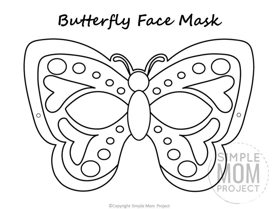 Free Printable Butterfly Mask Template Coloring Page in ...