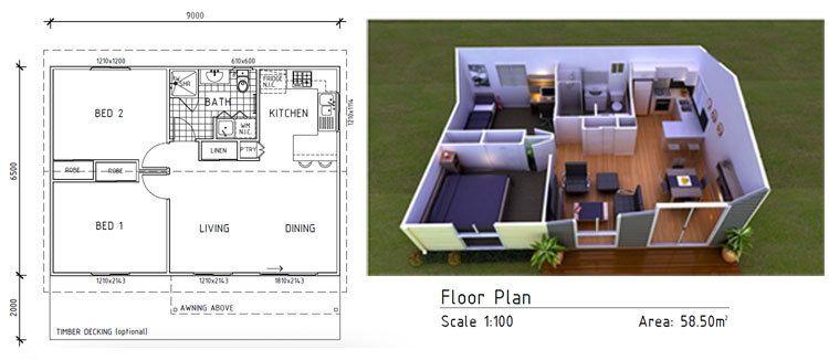 Image result for prefab cottage 60sqm beach cottage Pinterest - maison en 3d gratuit