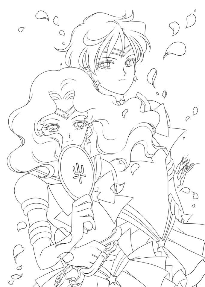 Sailors Neptune & Uranus | Sailor moon coloring pages ...