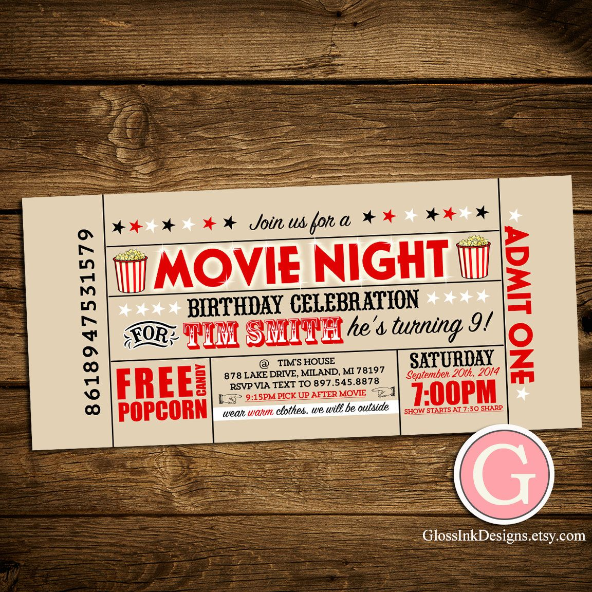 Movie Night Invitation   Vintage Ticket Style Birthday Boy Girl Twins,  Adult Party Outdoor,  Free Printable Ticket Style Invitations
