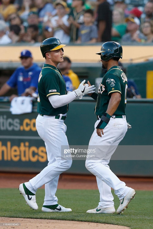 Matt Chapman Of The Oakland Athletics Celebrates With Marcus Semien Oakland Athletics Athlete Texas Rangers
