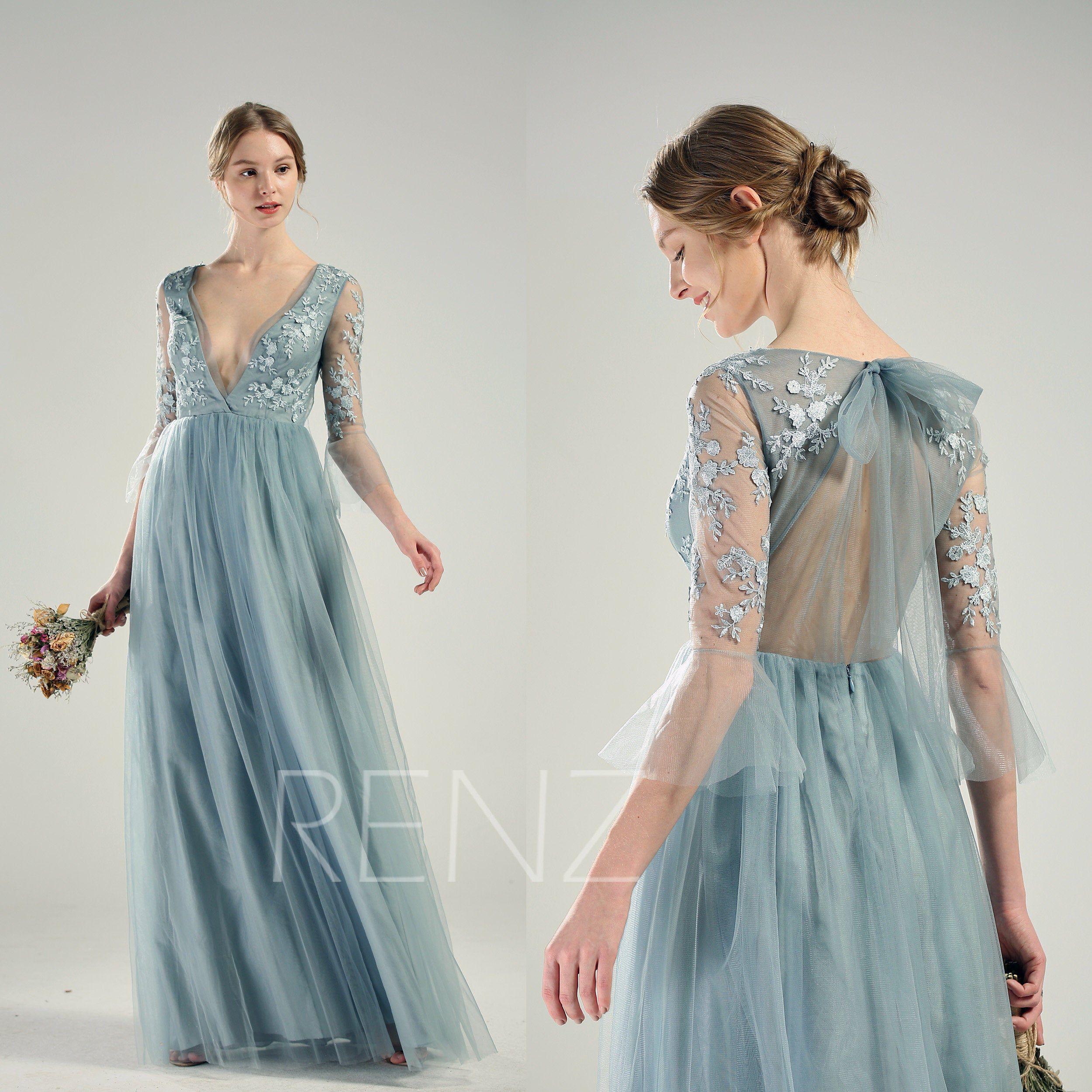 Blue Wedding Dress Long Sleeve Dusty Blue Bridesmaid Dress Etsy Dusty Blue Bridesmaid Dresses Wedding Dress Long Sleeve Dresses [ 2500 x 2500 Pixel ]