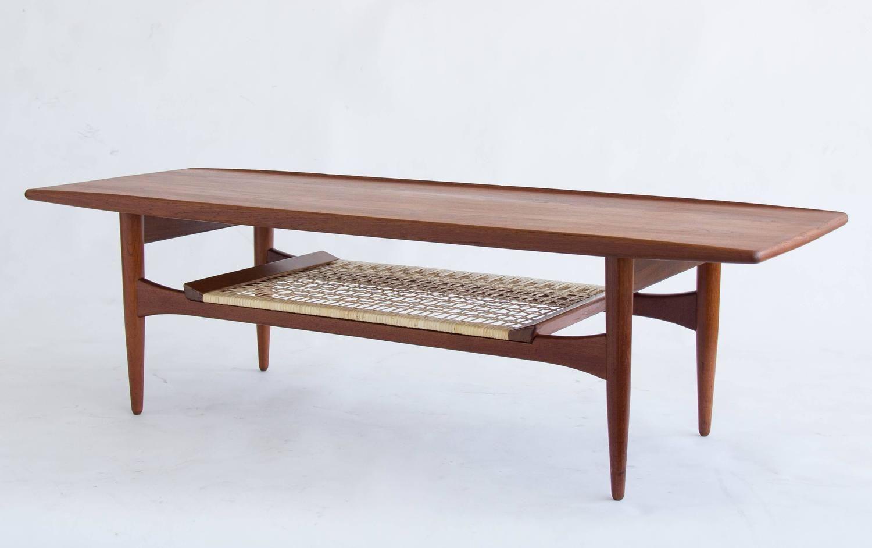 Danish Teak Coffee Table With Cane Shelf 5