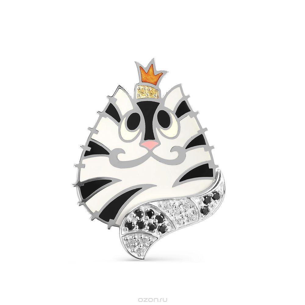 Подвеска из серебра Коронованный Кот с кристаллами ...