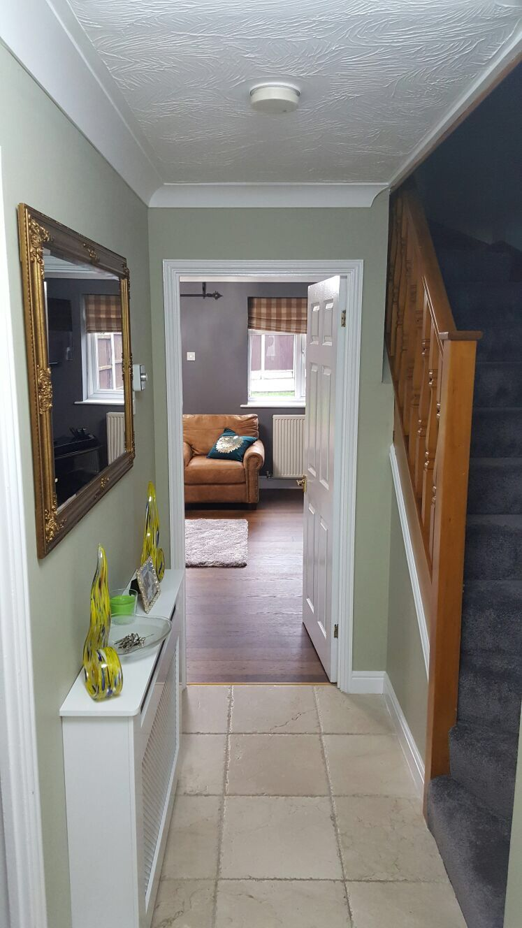 Overtly Olive Hallway With Brown Stairs Entrance Hall In