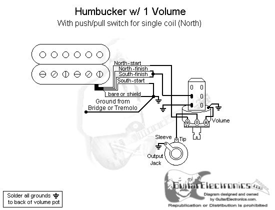 1 Humbucker/1 Volume/Pull for North Single Coil