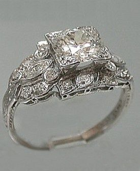 Platinum Art Deco Filigree Ring 1920s