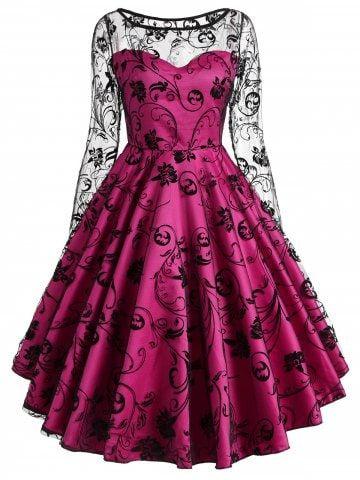 Long Sleeve Vintage Lace Overlay Dress