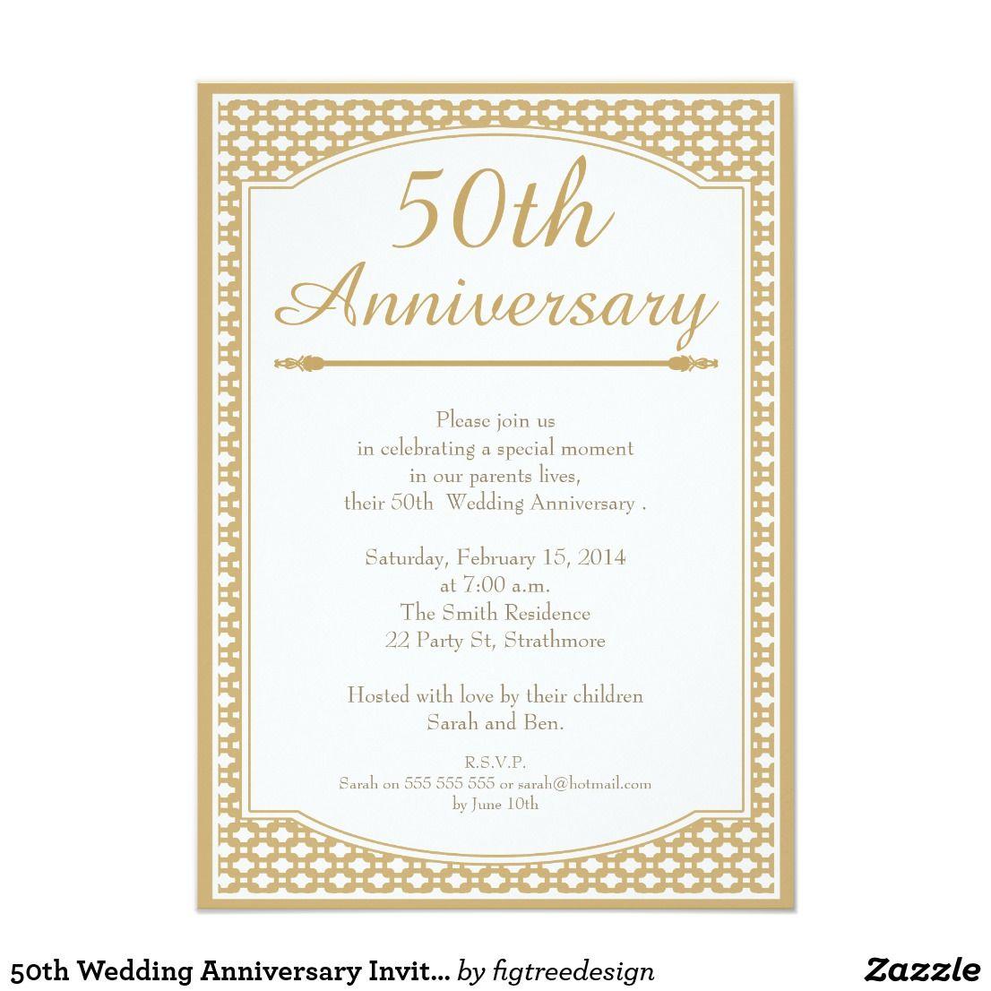 50th Wedding Anniversary Invitation | 50th wedding anniversary ...