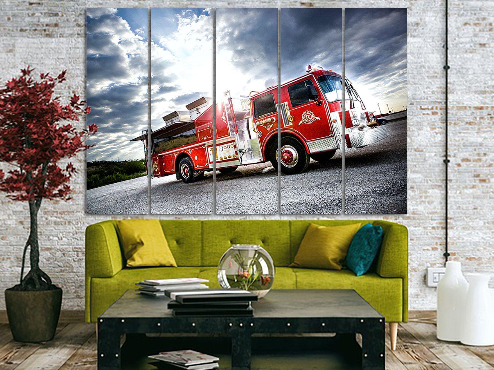 Fire Truck Canvas Fire Truck Print Fire Engine Decor Truck Decor Truck Canvas Dumper Truck Wall Art Boy Boys Room Wall Art Modern Canvas Painting Trucks Print