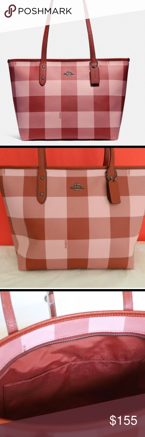 066934b7c3 NWT Coach F26147 City Zip Tote Buffalo Plaid Set NWT Coach F26147 ...