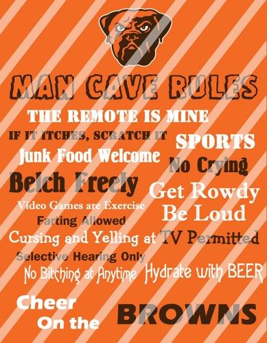 Cleveland Browns Man Cave Rules Wall Decor Sign Printable Digital ...