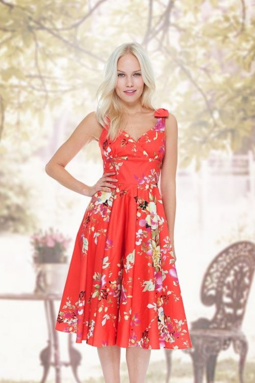 The Pretty Dress Company Coral Floral Swing Dress 102 29 13892 5TopVintage FB