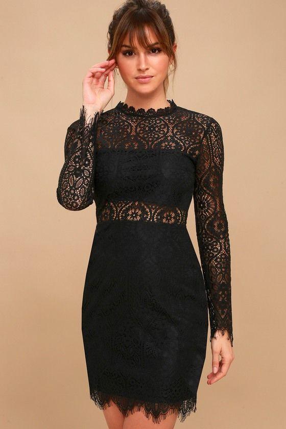 Schwarzes Spitzenkleid mit langen Ärmeln - Sexy und Elegant Kleider ...