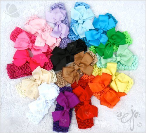 Ema Jane - 30 Set of Colorful Grosgrain Hair Bows with Matching Soft Boutique Quality Crochet Headbands (Set of 15 Bows + 15 Headbands) for Baby, Newborn, Toddler, Girls, Youth Ema Jane, http://www.amazon.com/dp/B0050DT11Q/ref=cm_sw_r_pi_dp_vY-Qpb0AQZV4V